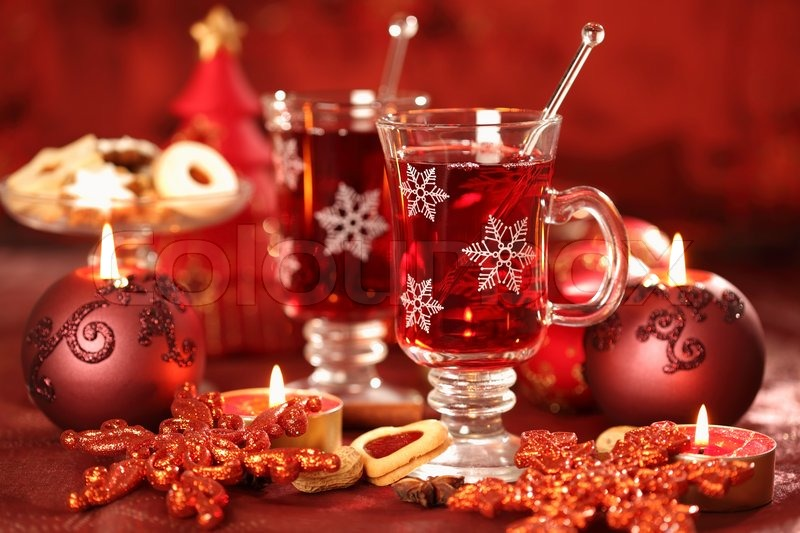 Hot drink for winter and Christmas with delicious cookies | Stock ...