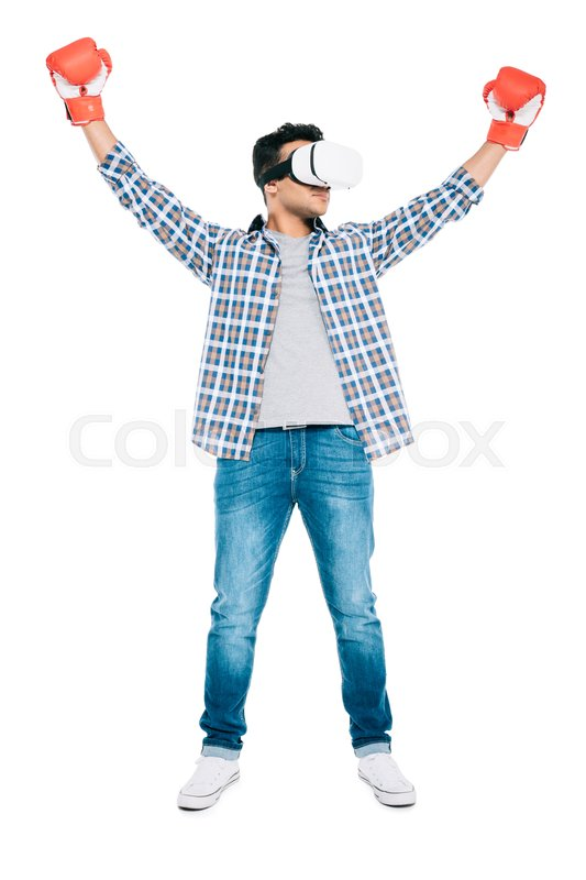 43679a372f49 Stock image of  young african american man in virtual reality headset and  boxing gloves triumphing