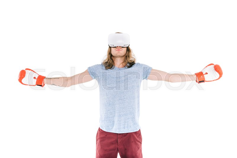 69db215271a6 Young man in virtual reality headset ...