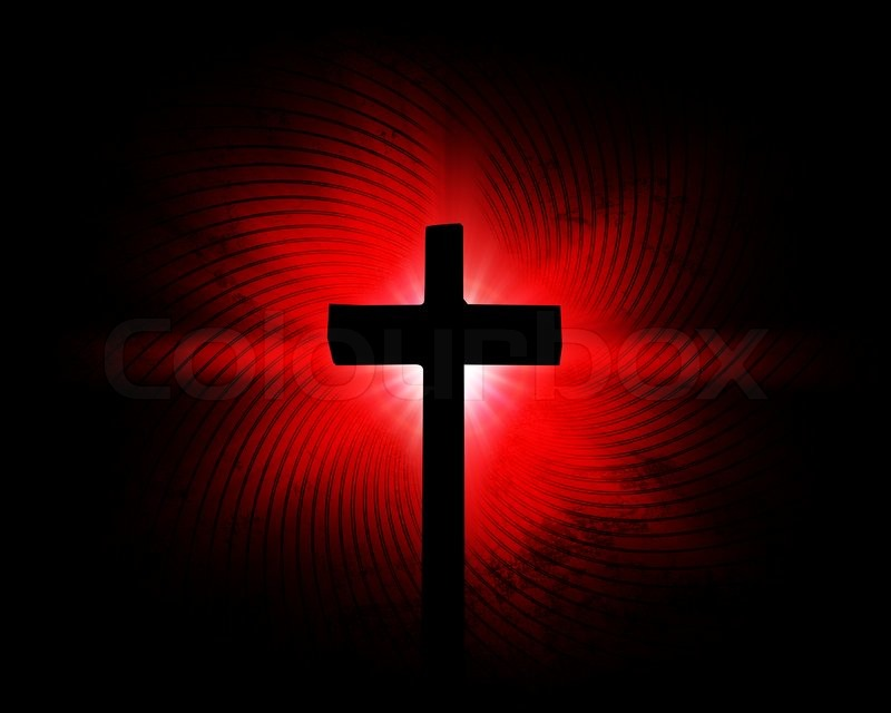 cross on the red background stock photo colourbox