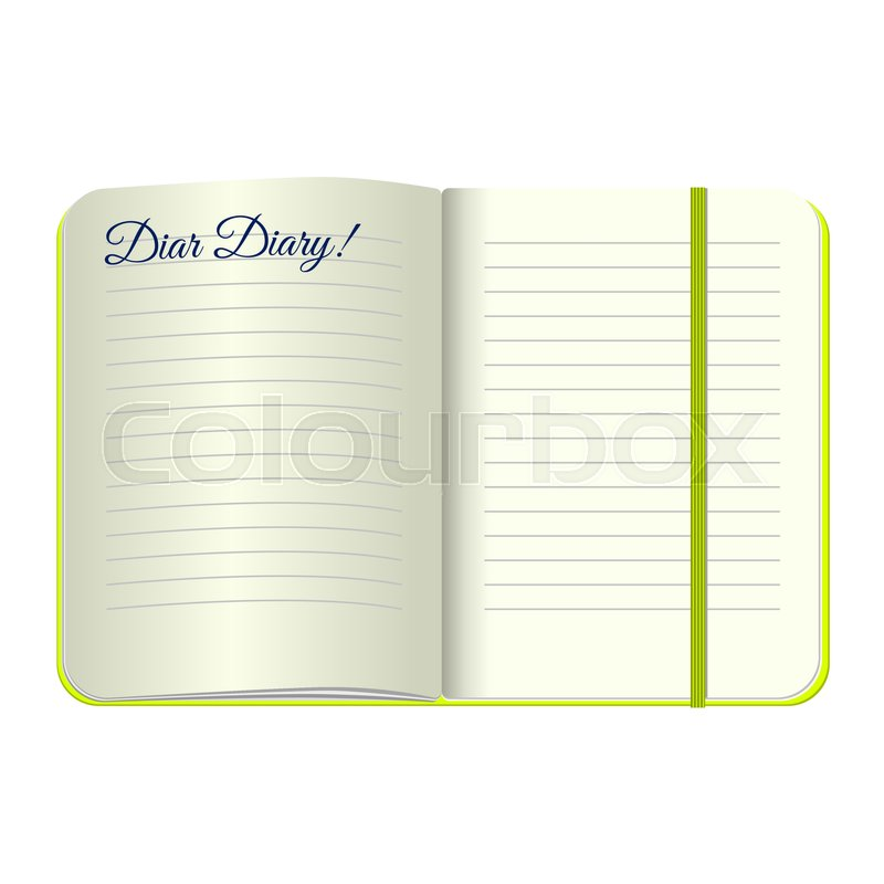 Template Open a blank notepad with the words Dear Diary. Vector ...