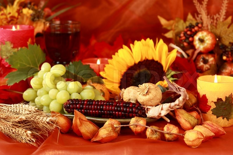 Still life and harvest or table decoration for Thanksgiving | Stock Photo | Colourbox