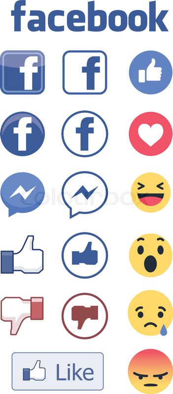 Facebook Icons Logos And Reactions Editable Vector Illustration Set