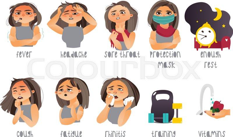 set of flu influenza symptoms and curing headache rhinitis
