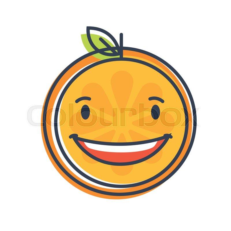 laugh emoji laughing orange fruit emoji vector flat design