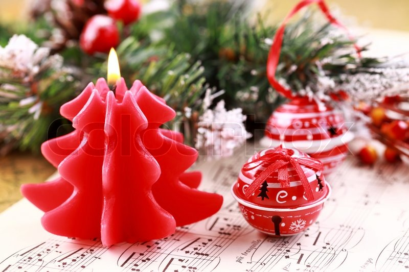 Stock Image Of Christmas Still Life With Jingle Bells And Music Notes