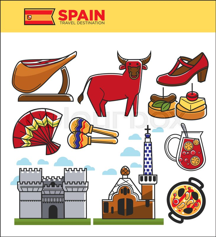 Vintage Poster Of Spain With Attractions And Landmarks Can Be Used