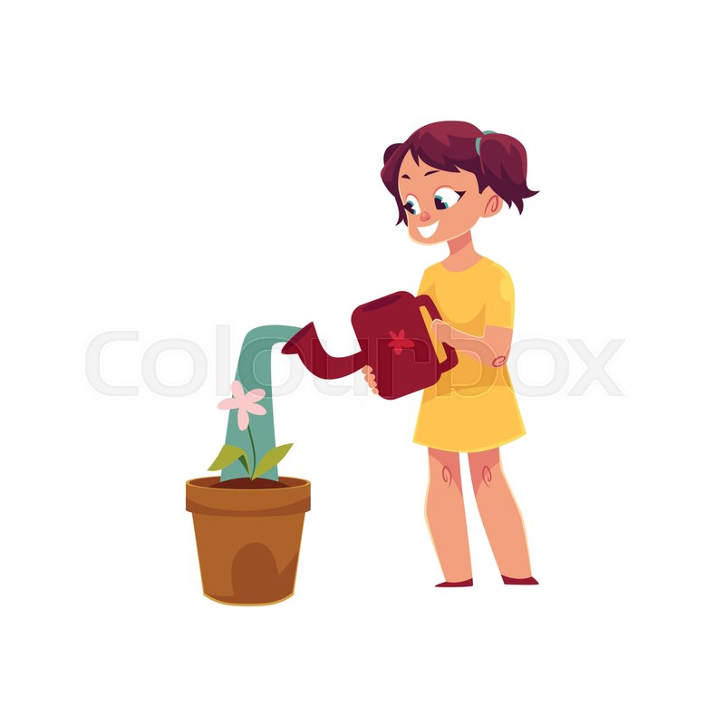 Stock vector of 'Little girl watering houseplant, pot flower, doing housework, cartoon vector illustration isolated on white background. Cartoon little girl watering houseplant, flower, helping with homework'