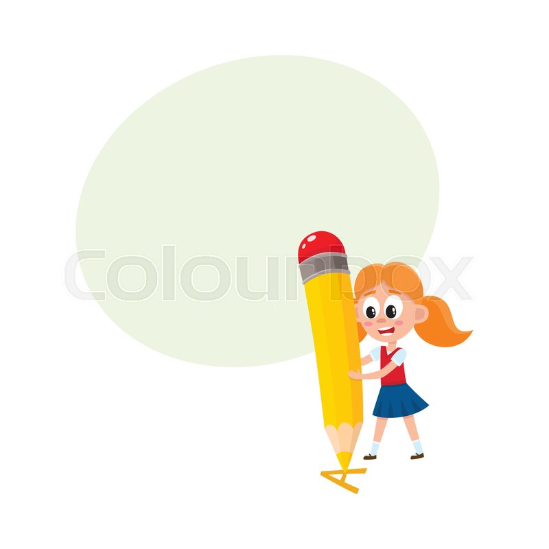 Little Girl Writing Drawing Letter A With Huge Pencil Cartoon Vector Illustration Isolated On White Background Speech Bubble