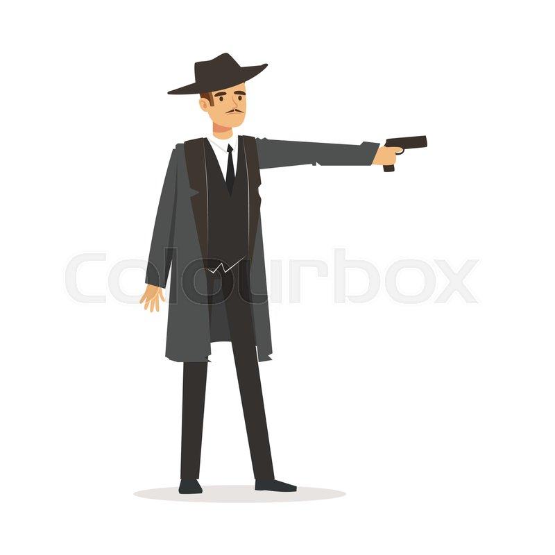 Mafia Hitman Character In Gray Coat Stock Vector Colourbox