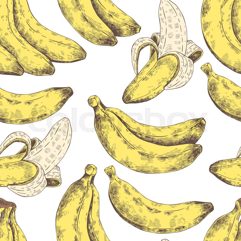 abstract seamless pattern wallpaper background backdrop yellow with white hand drawn banana
