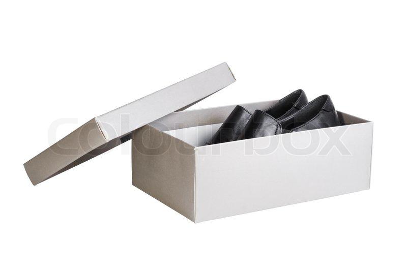 paar schwarze schuhe in grau schuhkarton isoliert auf. Black Bedroom Furniture Sets. Home Design Ideas