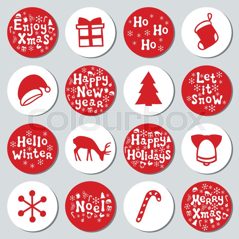 Where To Buy Christmas Decorations Year Round: Christmas New Year Gift Round Stickers. Labels Xmas Set