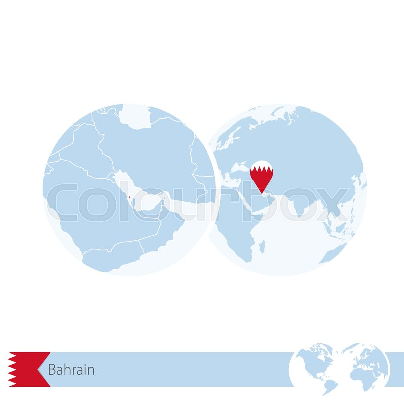 Bahrain on world globe with flag and regional map of bahrain bahrain on world globe with flag and regional map of bahrain vector illustration stock vector colourbox gumiabroncs Choice Image