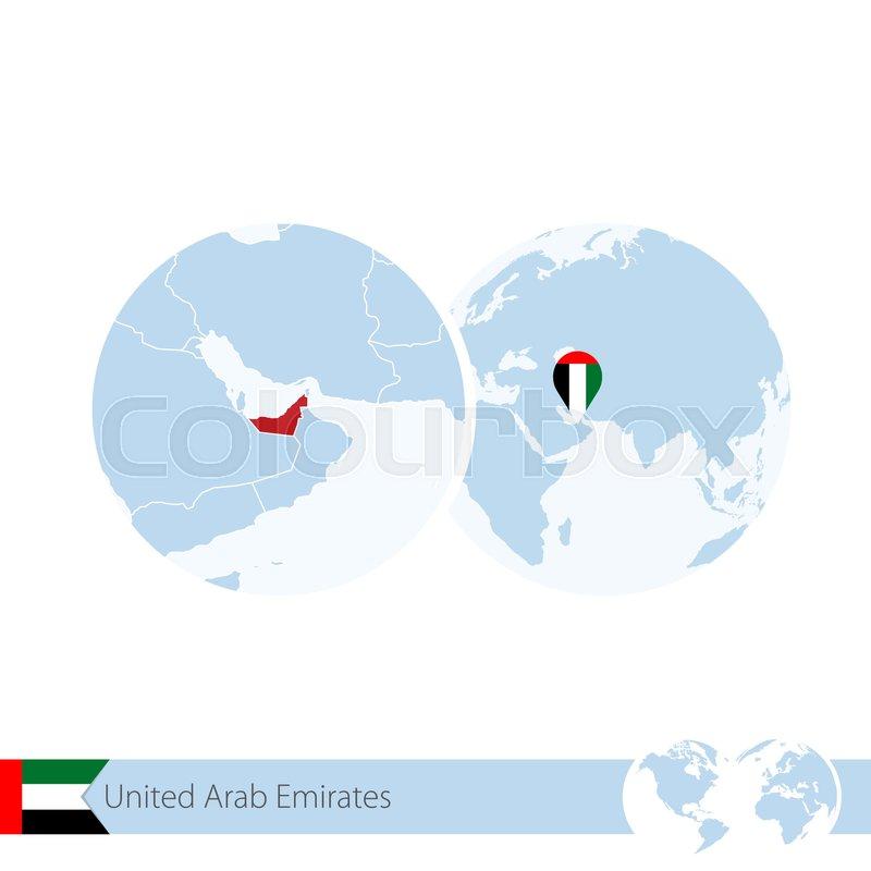 United Arab Emirates On World Globe Stock Vector Colourbox