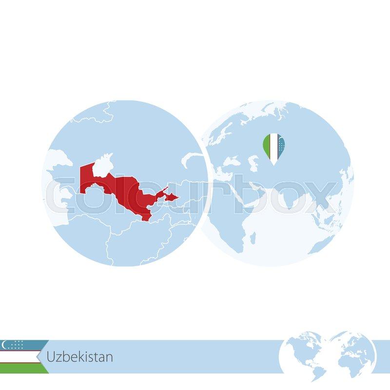 Uzbekistan on world globe with flag and regional map of uzbekistan uzbekistan on world globe with flag and regional map of uzbekistan vector illustration stock vector colourbox gumiabroncs Images