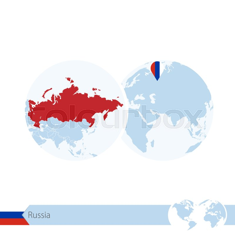 Russia on world globe with flag and regional map of russia vector russia on world globe with flag and regional map of russia vector illustration stock vector colourbox gumiabroncs Images