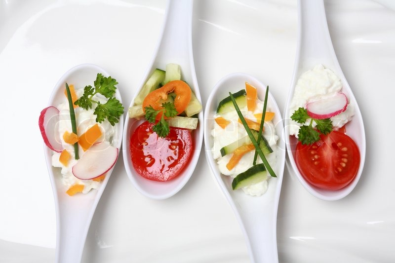 Fingerfood served in small spoons stock photo colourbox for Canape cocktail spoons