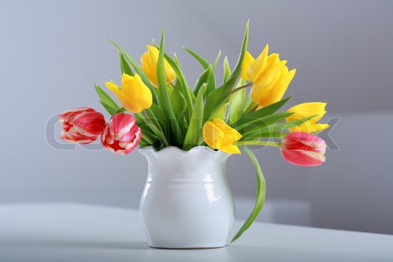 Yellow Tulip Bouquet In Vase