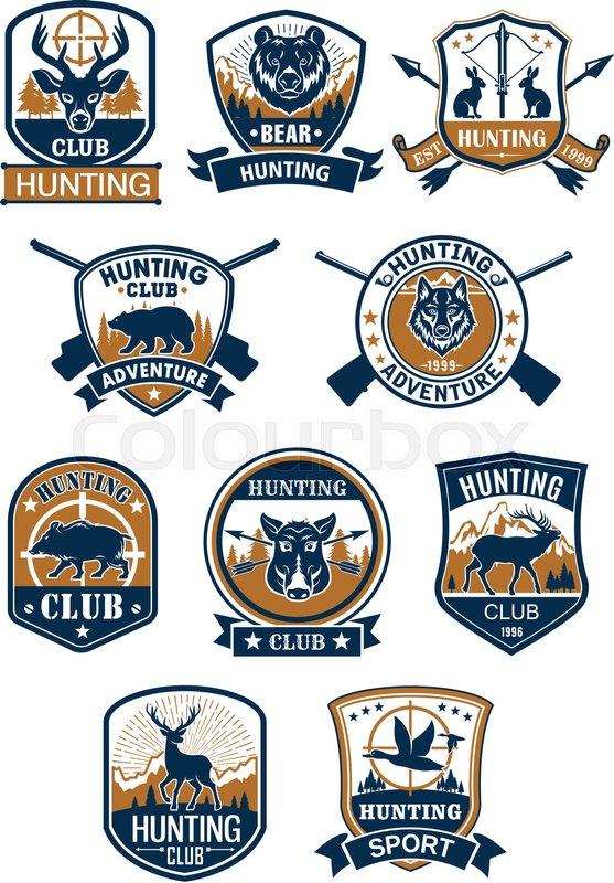 Hunting Sport Symbol And Hunter Club Membership Badge Set Deer