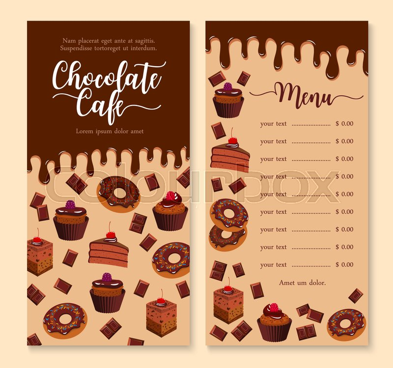 cake and dessert menu template with dripping melted chocolate cake cupcake donut muffin and. Black Bedroom Furniture Sets. Home Design Ideas