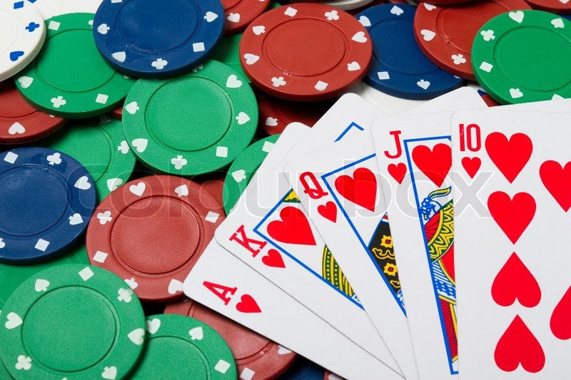 poker chips and cards royal flush stock photo colourbox