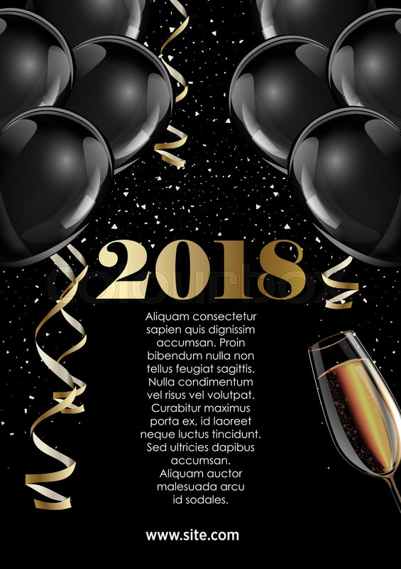 happy new year 2018 greeting card or poster template flyer design beautiful luxury holiday background with 3d black baloons vector illustration