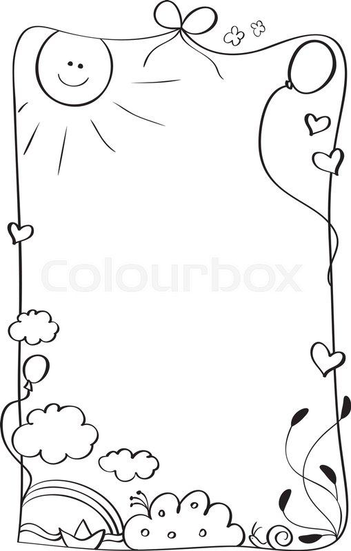 Abstract kids frame of vintage draw isolated on background. Vector ...