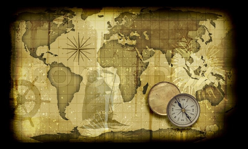 Image Of An Old Paper World Map Stock Photo Colourbox