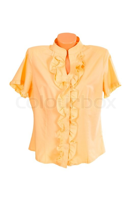 9e84c4fe Elegant yellow blouse isolated on a ... | Stock image | Colourbox