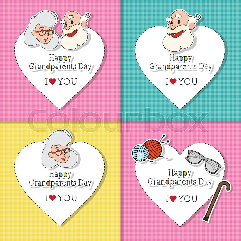 Happy grandparents day greeting cards set colorful banner pop art happy grandparents day greeting cards set colorful banner pop art style illustration stock vector colourbox m4hsunfo