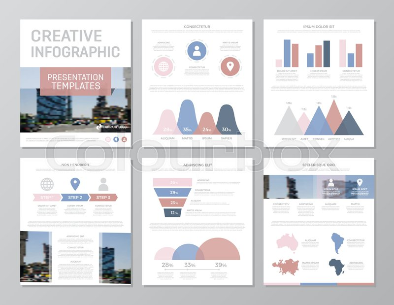 Set of red, blue and pink elements for multipurpose a4 ...