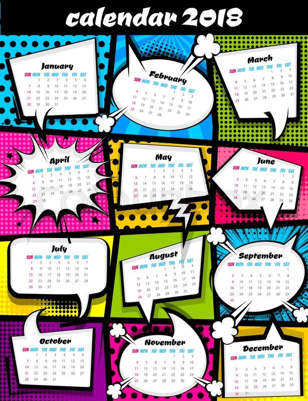 2018 calendar pop art template. Comic book colored halftone