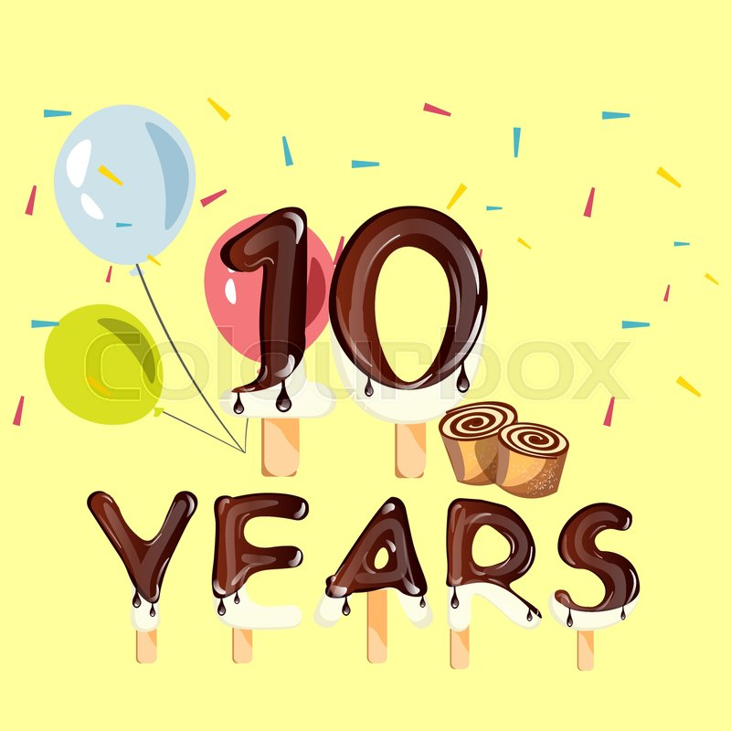 10 Years Anniversary Celebration Logo Birthday Vector