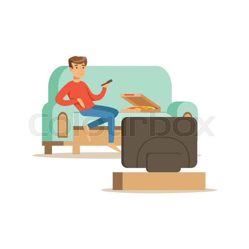 Young Man Character Sitting On A Sofa And Watching TV, People Resting At  Home Vector Illustration On A White Background | Stock Vector | Colourbox