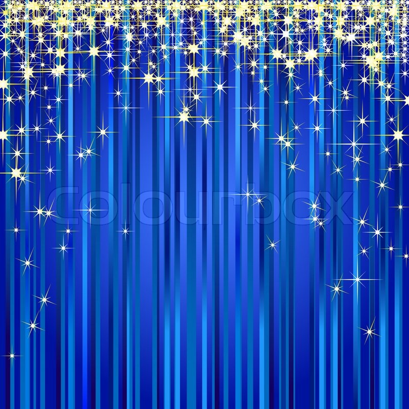 Christmas Illustration Of A Blue Curtain With Gold Stars