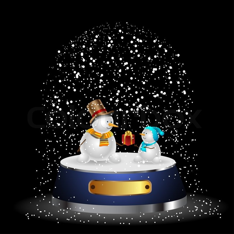illustration schneekugel mit einem weihnachtsbaum und. Black Bedroom Furniture Sets. Home Design Ideas