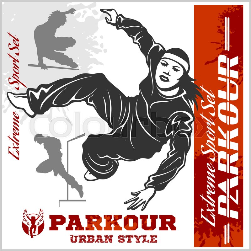 Girl parkour is jumping - illustration and emblem - set of vector images on white, vector