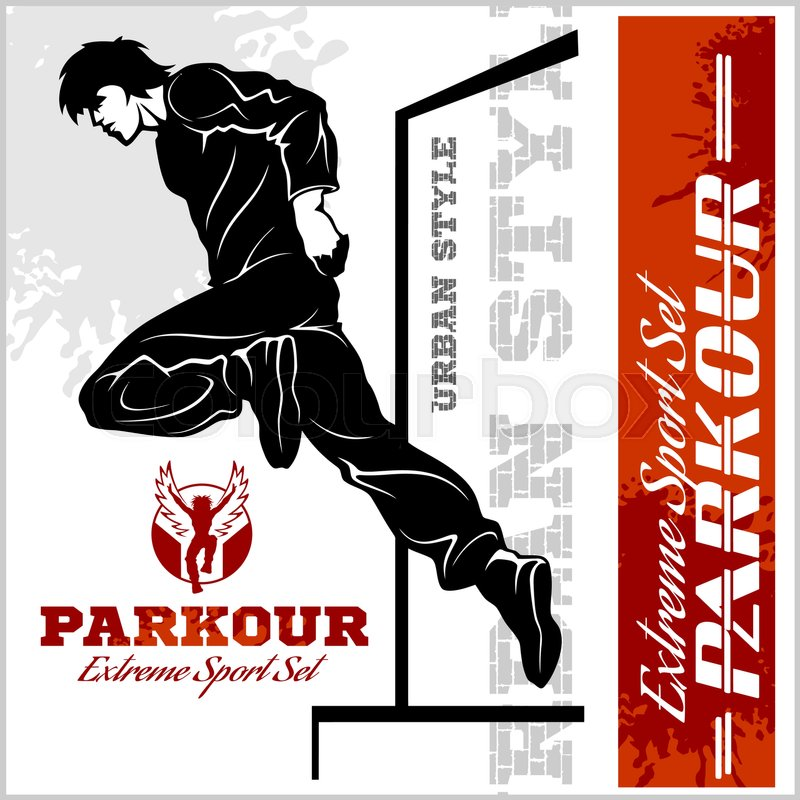Boy parkour is jumping - illustration and emblem - set of vector images on white, vector