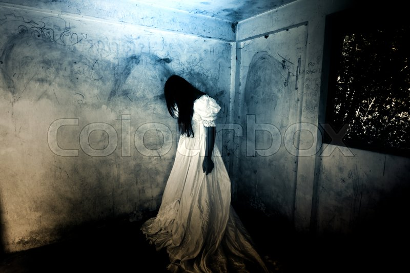 Cry Girl Ghost In Haunted House Mysterious Woman In White