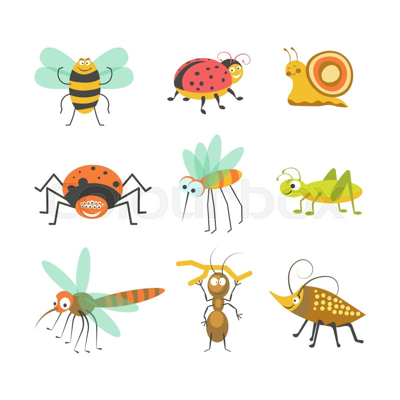 cartoon insects and funny bugs of smiling bumblebee bee or rh colourbox com cartoon insects pictures cartoon insects clipart