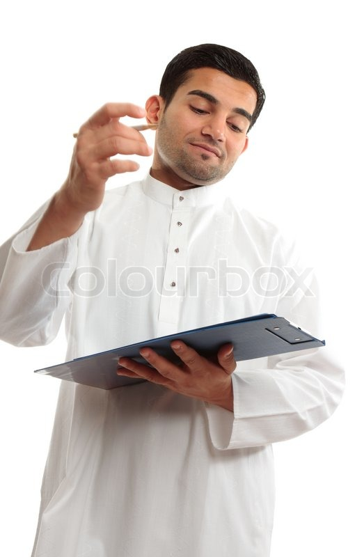 92dcf32b9d4 An ethnic middle eastern mixed race business man wearing a white  traditional woven robe and holding a clipboard folder and pen Man s right  hand shows motion ...