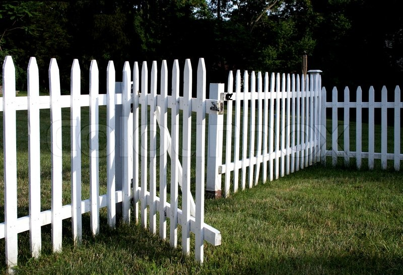 White Picket Fence With Gate Opened Stock Photo Colourbox