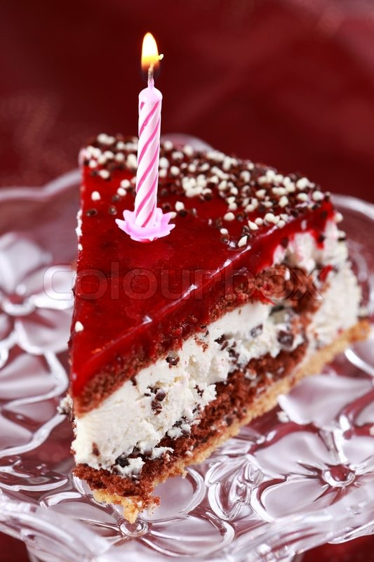 Images Of Delicious Birthday Cake : Delicious stracciatella birthday cake with candle Stock ...