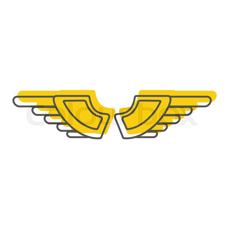 gold wings doodle icon vector illustration for design and web rh colourbox com wing logistics wing logo pictures