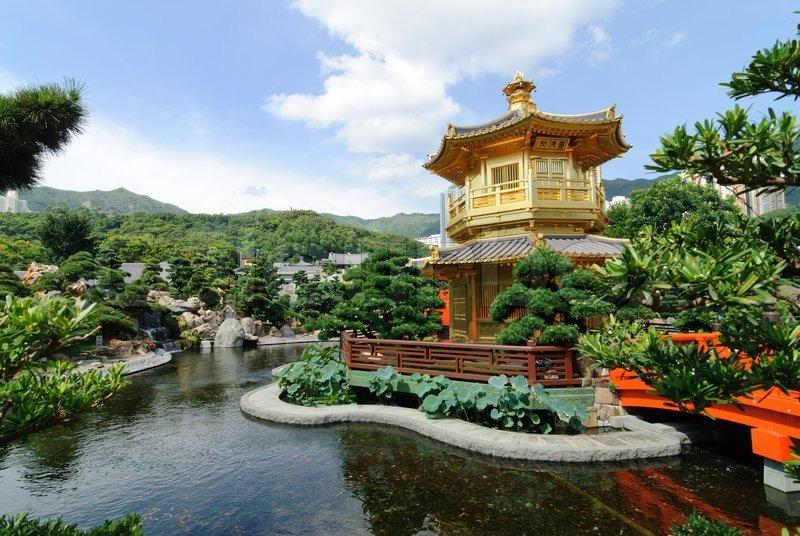 the oriental gold pavilion of absolute perfection in nan lian garden chi lin nunnery hong kong stock photo colourbox - Nan Lian Garden
