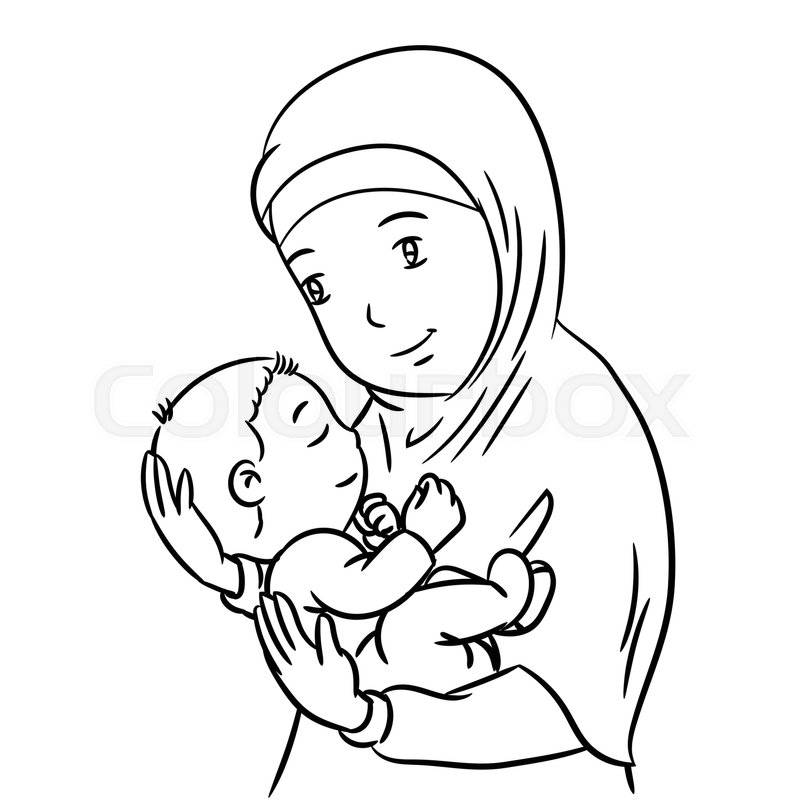 hand drawing of a muslim mother with demonstration of