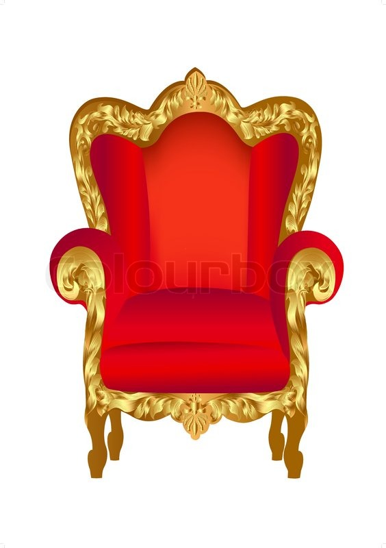 Illustration Old Chair Red With Gold Ornament On White