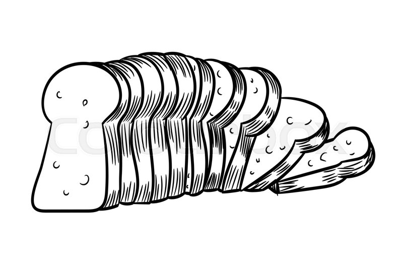 Hand Drawn Sketch Of Sliced Bread Black And White Simple Line Vector Illustration For Coloring Book