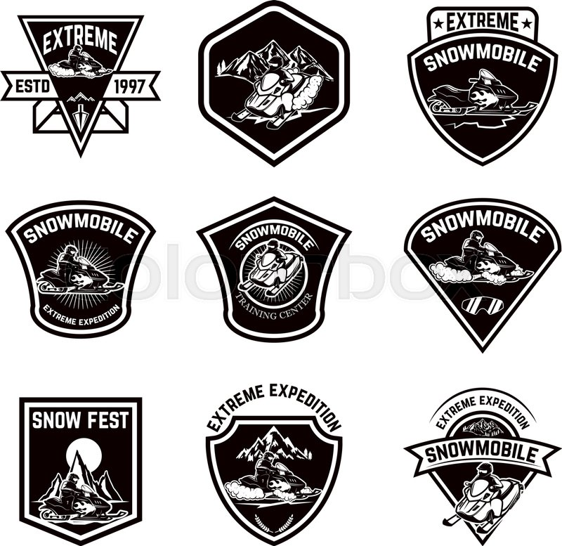 set of snowmobile sport emblems snow bike design elements for logo
